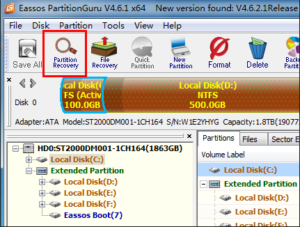 how to recover hard drive with 2 partition