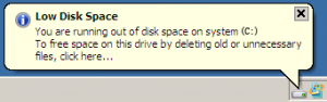 low disk space C