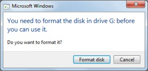 You need to format the disk in drive before you can use.