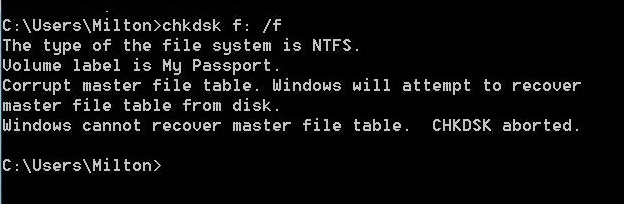 Corrupt master file table Windows cannot recover master file table CHKDSK aborted