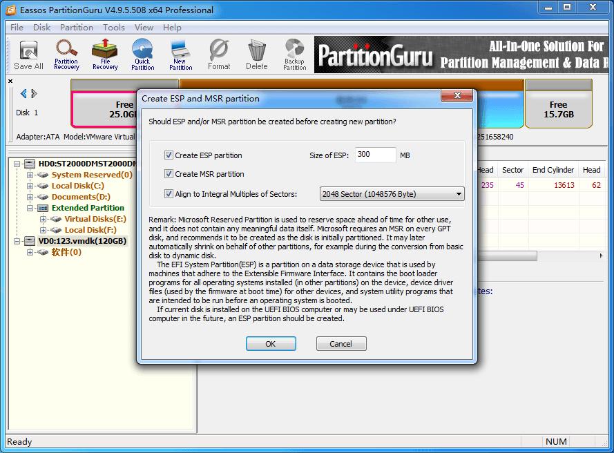 create ESP / MSR partition in Windows 10