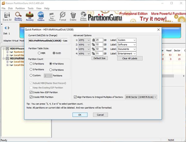 partition an external hard drive Windows 10