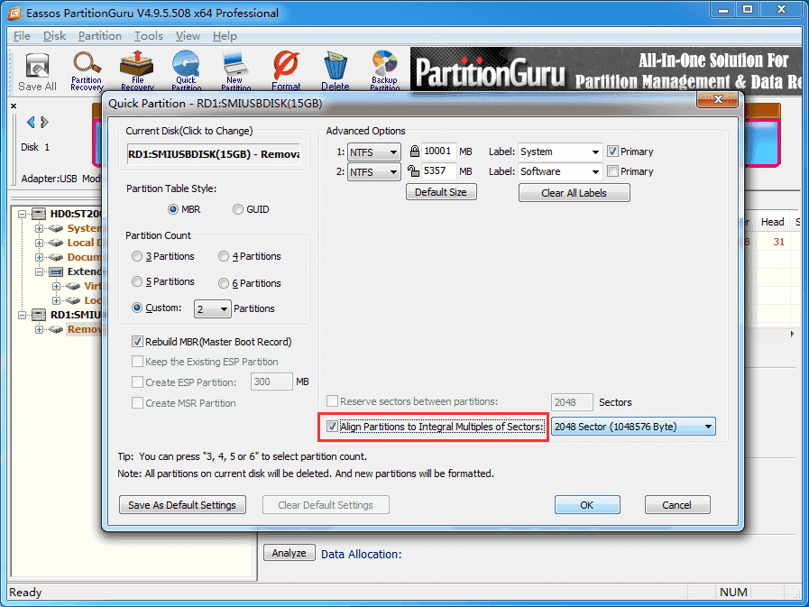 partition SSD