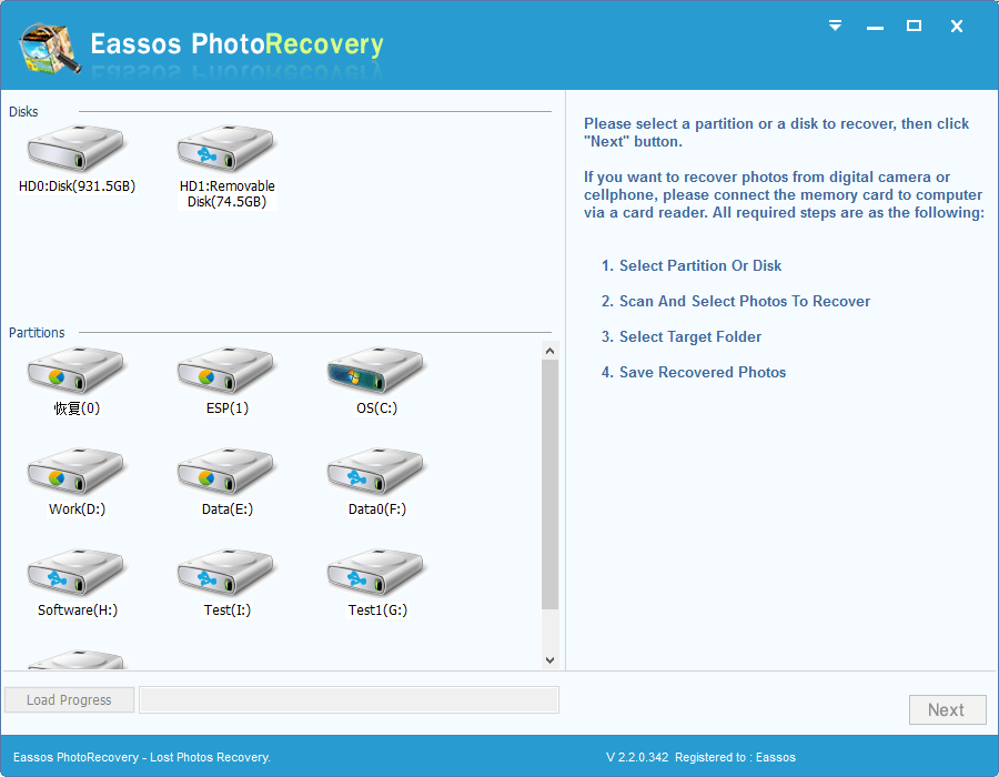 Click to view Eassos Photo Recovery 2.6.1.417 screenshot
