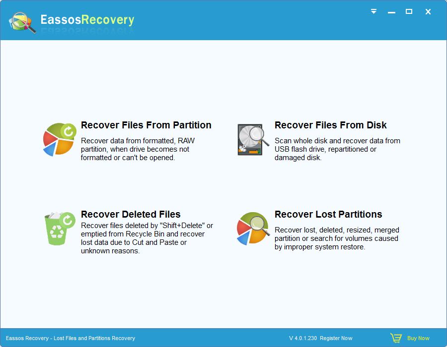 Eassos Recovery is powerful hard drive recovery software, supporting file recovery and partition recovery from local disk, USB drive, SD card, flash drive, memory stick, etc. This recovery software is very easy to use due to wizard interface.