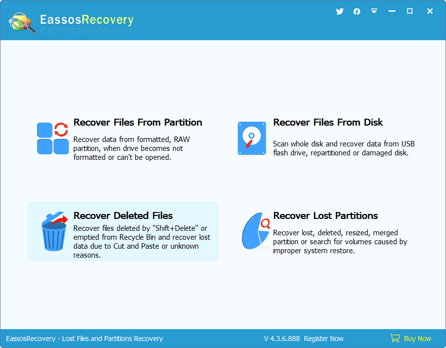 Deleted File Recovery - Start Wizard