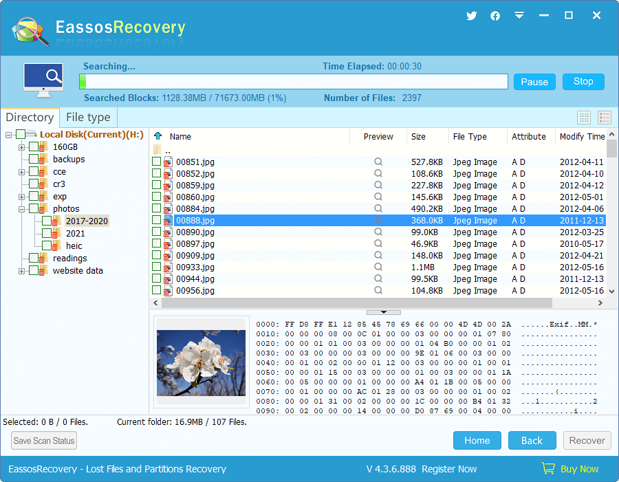 Deleted File Recovery - Scan Files