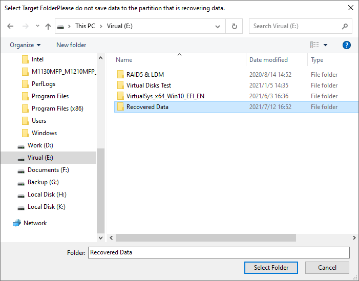Deleted File Recovery - Select Folder
