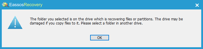 Deleted File Recovery - Target Folder Warning