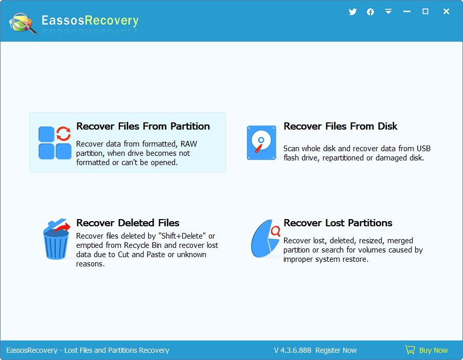 Whole Partition File Recovery - Start Wizard