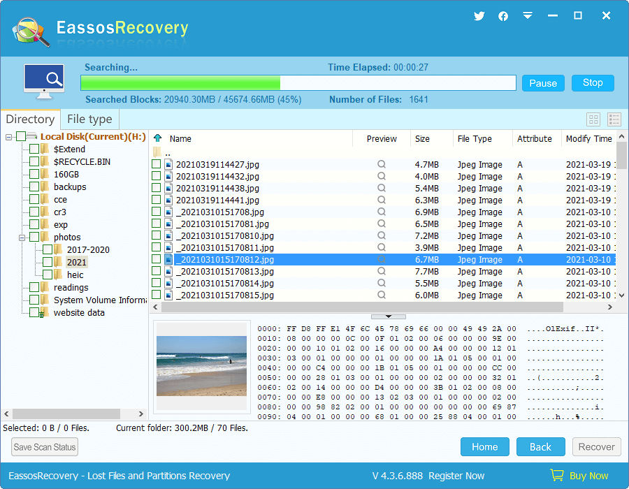 Whole Partition File Recovery - Search Result and Select Files
