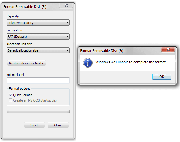 How to fix - Windows was unable to complete the format error on USB