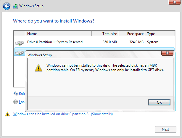 The selected disk has an MBR partition table