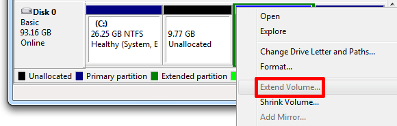 add unallocated space to partition in Windows