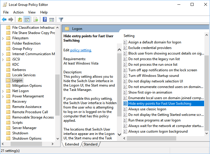 How To Disable Fast User Switching in Windows 10, 8, 7, Vista and XP