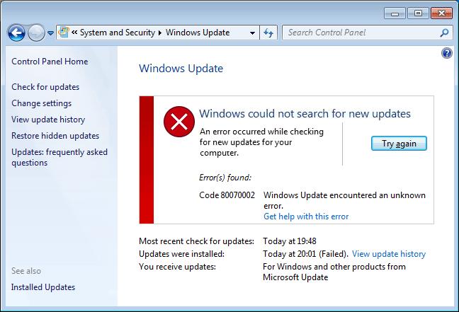 Image result for Windows 8.1 Update Error 0x80070002