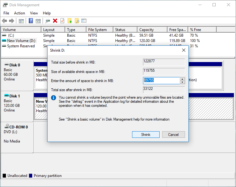 How to partition a hard drive in Windows 10/8/7