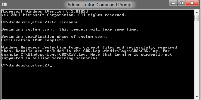 will tell whether there is interiority violation this command scans all protected system files and replaces those corrupted files with a backup copy