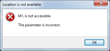 Fix the error - Drive is not accessible. The parameter is incorrect